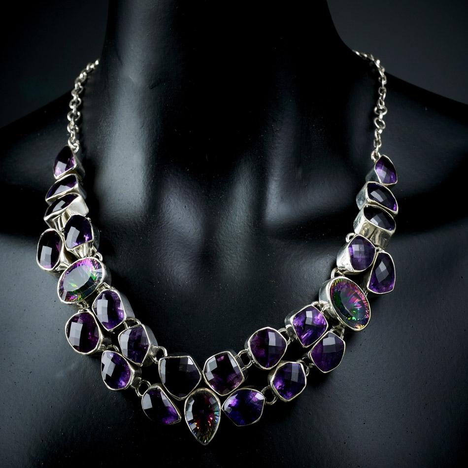 Amethyst Mystic Topaz Chunky Silver Necklace