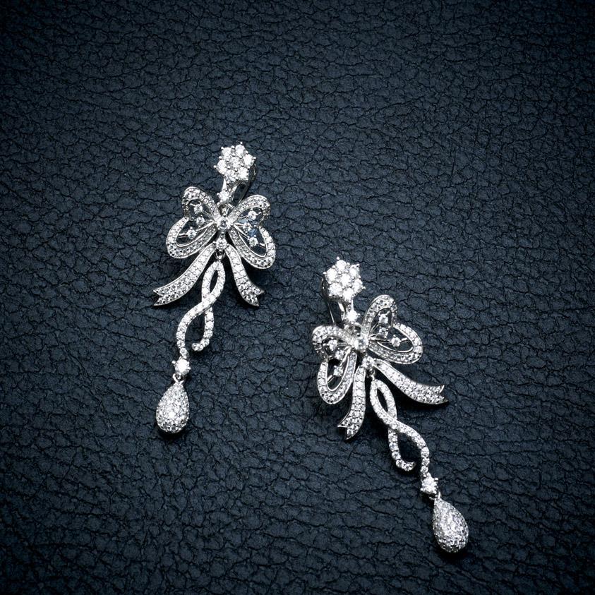 Ribbons Silver Earrings