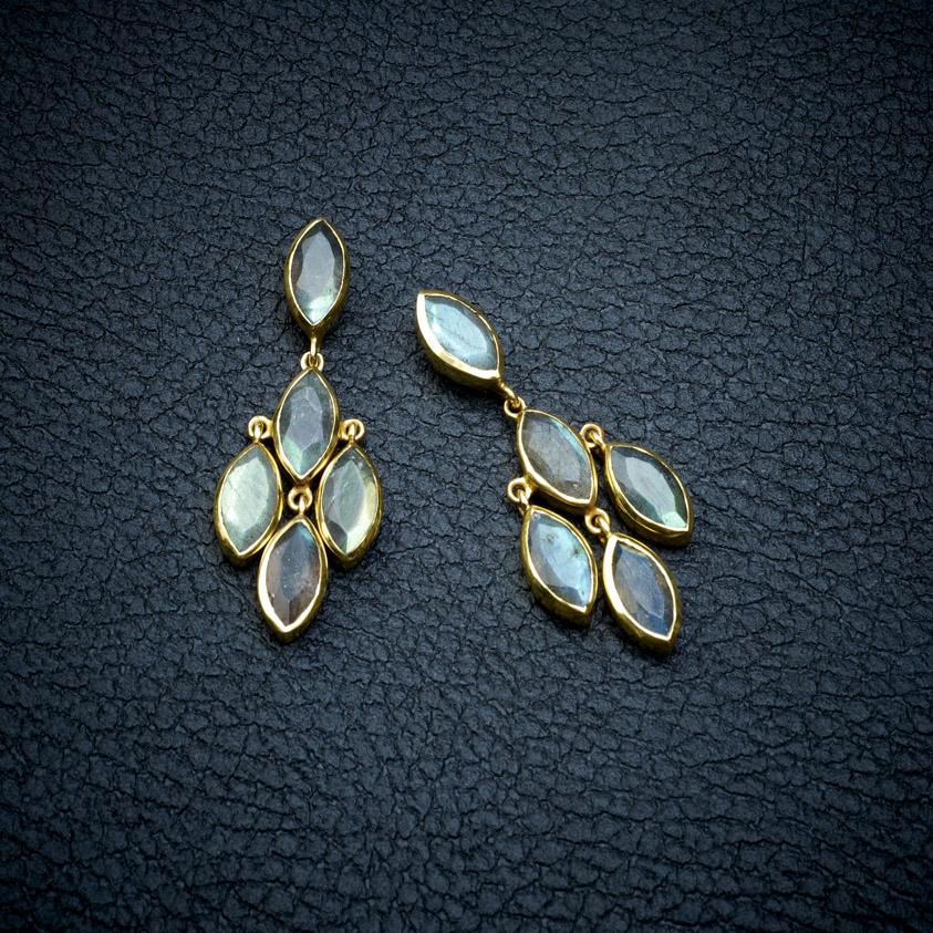 Labradorite Gemstone Drop Earrings