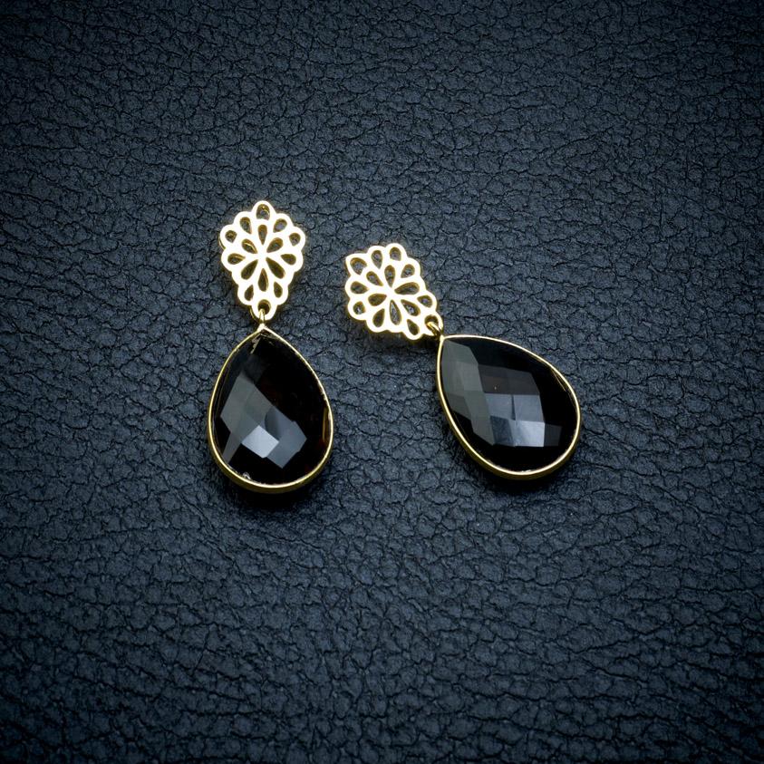 Smokey Quartz Teardrop Earrings